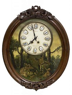FRENCH TIME & STRIKE PAINTED WALL CLOCK, 19TH C.