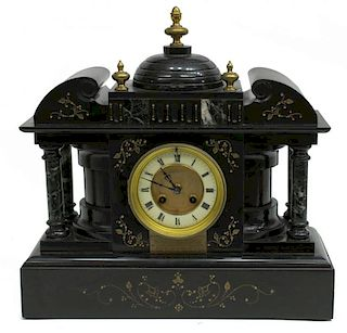 SLATE AND MARBLE ARCHITECTURAL MANTLE CLOCK C.1900