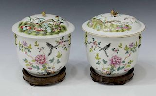 (2) CHINESE FAMILLE ROSE ENAMELED PORCELAIN JARS