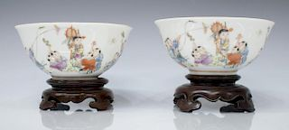(2) CHINESE FAMILLE ROSE PORCELAIN CHILDREN BOWLS