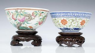 (2) CHINESE PORCELAIN PEACH & LOTUS BOWLS