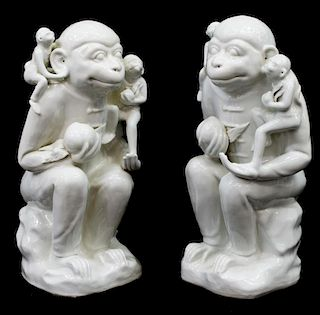 (2) CHINESE WHITE PORCELAIN GLAZED MONKEY STATUES