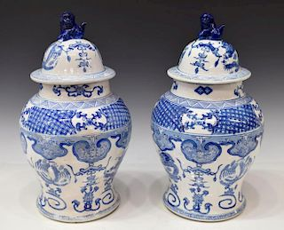 (2) CHINESE BLUE & WHITE PORCELAIN TEMPLE JARS