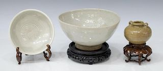 (3) ANCIENT ASIAN BOWLS & MINIATURE MING JAR