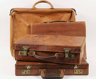 (4) VINTAGE LEATHER BRIEFCASES