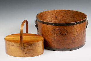 (2) SHAKER MADE WOODEN CONTAINERS