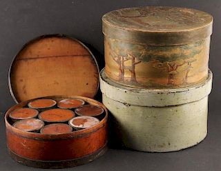 (3) EARLY WOODEN BOXES