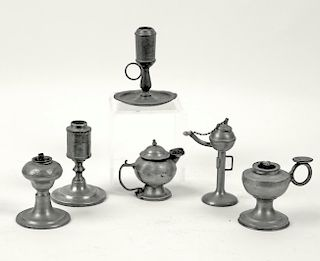 (6) MINIATURE PEWTER LAMPS