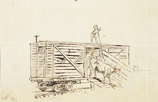 CHARLES M. RUSSELL (1864-1926), Punch Poling Cattle from a Railroad Stockcar; Unloading Cattle from a Railroad Stockcar