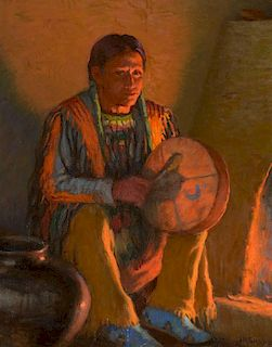 JOSEPH H. SHARP (1859-1953), Firelight Drummer