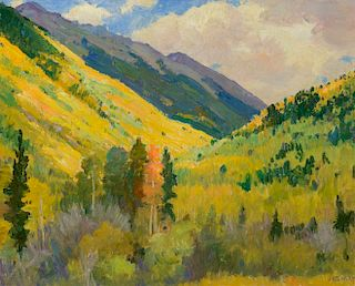JOSEPH H. SHARP (1859-1953), Aspens at Twining
