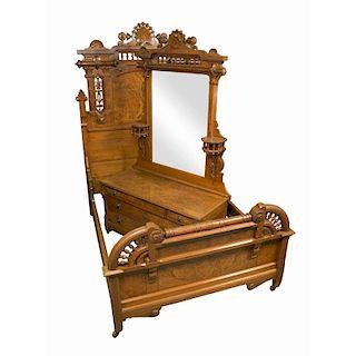 Victorian Walnut Bed and Dresser