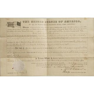 Abraham Lincoln/Stoddard Signed Land Grant, 1863