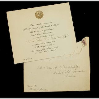 Hawaiian Territory Invitation Anthony McAuliffe to Meet President Roosevelt on His First Visit to the Islands