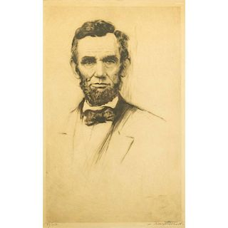 Joseph Nuyttens (1885-1960) Etching, Abraham Lincoln
