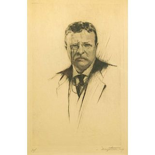 Josef Nuyttens (1885-1960) Etching, Theodore Roosevelt