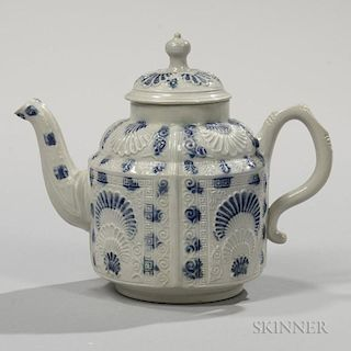 Staffordshire Salt-glazed Stoneware Molded Teapot and Cover
