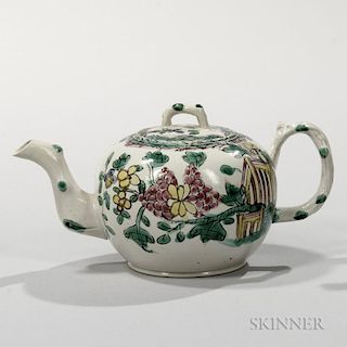 Staffordshire Enameled Salt-glazed Stoneware Teapot and Cover