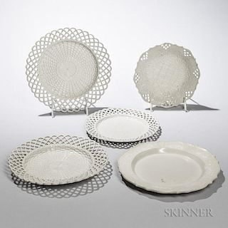 Five Staffordshire Salt-glazed Stoneware Press-molded Dishes