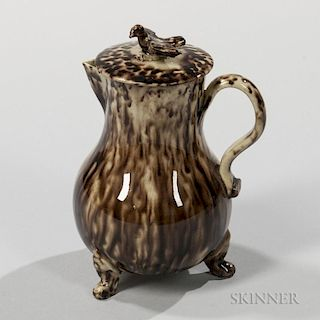 Staffordshire Brown Tortoiseshell-glazed Cream-colored Creamer and Cover