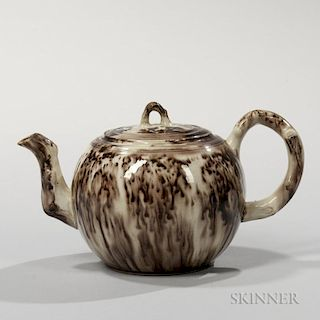 Brown Tortoiseshell-glazed Cream-colored Earthenware Teapot and Cover