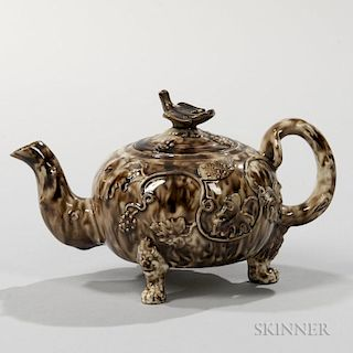Staffordshire Brown Tortoiseshell-glazed Cream-colored Teapot and Cover