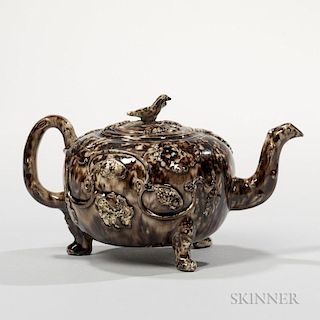 Staffordshire Brown Tortoiseshell-glazed Cream-colored Earthenware Teapot and Cover