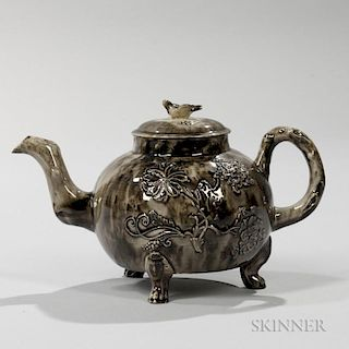 Staffordshire Translucent Brown Glazed Cream-colored Earthenware Teapot and Cover