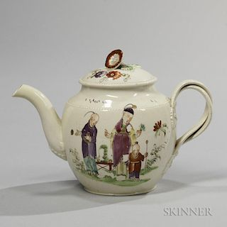 Staffordshire Creamware Chinoiserie Decorated Teapot and Cover