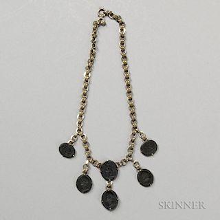 Wedgwood & Bentley Black Basalt Intaglio-mounted Necklace