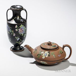 Two Wedgwood Enamel-decorated Dry Body Items