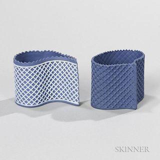 Two Wedgwood Solid Blue Jasper Custard Cups