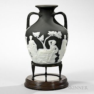Wedgwood Solid Black Jasper Portland Vase with Stand