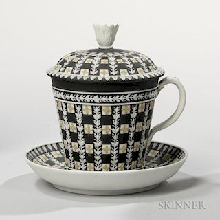 Wedgwood Tricolor Diceware Jasper Dip Cup, Cover, and Stand