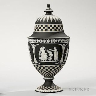 Wedgwood Tricolor Diceware Jasper Dip Vase and Cover