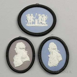 Three Wedgwood Bert Bentley Tricolor Jasper Medallions