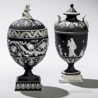 Two Wedgwood Black Jasper Dip Vases and Cover