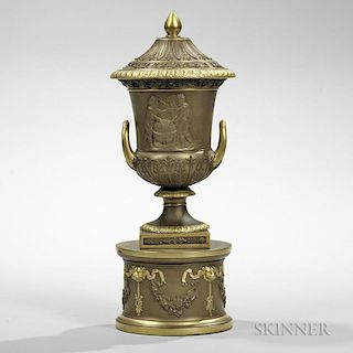 Wedgwood Gilded and Bronzed Black Basalt Vase and Cover