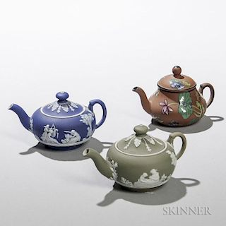 Three Miniature Wedgwood Teapots and Covers