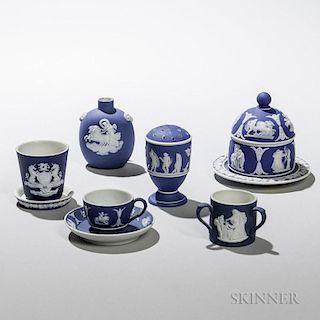 Seven Wedgwood Small Dark Blue Jasper Dip Items