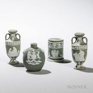 Four Wedgwood Miniature Green Jasper Dip Items
