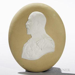 Wedgwood Yellow Jasper Dip Portrait Medallion of Edward VII