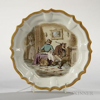 Wedgwood Enamel Decorated Queen's Ware Plate