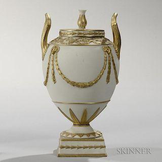 Wedgwood Gilded White Jasper Vase and Cover
