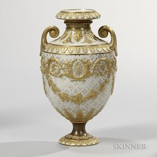 Wedgwood Gilded and Bronzed Queen's Ware Vase