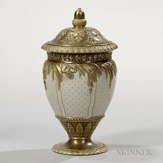 Wedgwood Gilded and Bronzed Queen's Ware Vase and Cover