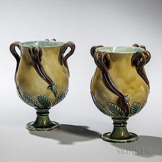 Pair of Wedgwood Majolica Vases