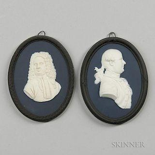 Two Wedgwood Bert Bentley Tricolor Jasper Portrait Medallions