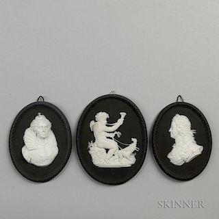 Three Wedgwood Bert Bentley Self-framed Solid Black Jasper Medallions
