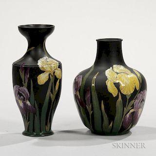 Two Wedgwood Black Basalt Kenlock Ware Vases